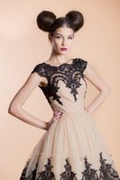 Wholesale Black And Champagne Ball Gowns Short Graduation Dresses With Capped Sleeves Lace Appliques Prom Dresses Custom Made