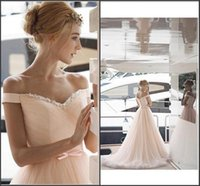 beauty wave pink - Beauty Pleats Garden Wedding Dresses Off the Shoulder Wedding Gowns Beaded Sweep Train A Line Bridal Gowns In Stock