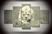 african lion posters - 5Pcs With Framed Printed African Lion Painting on canvas room decoration print poster picture canvas quadro
