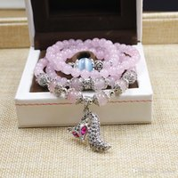 Wholesale Hot south Korean jewelry natural crystal bracelet with diamond powder fox hand act the role of fate preventable Multilayer beaded crystal