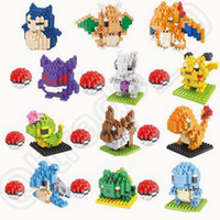Wholesale 12 Design Poke Mon Go Action Figure Minifigure Building Blocks DIY Pikachu Squirtle Model Toys Miniature Diamond Brick Toys CCA4726