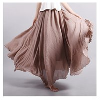 Wholesale 2016 Fashion Brand Women Linen Cotton Long Skirts Elastic Waist Pleated Literary style Vintage Summer Skirts Faldas Saia