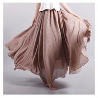 al por mayor faldas estilo de la vendimia-2016 Mujeres de marca de moda de lino de algodón de faldas largas de cintura elástica plisado estilo literario Vintage Faldas Faldas Saia