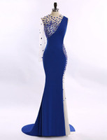 art stones deco - Jewel Long Mermaid Prom Dresses One Sleeve Evening Gowns Vestido De Festa with Stones