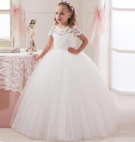 Wholesale 2016 New Collection Flower Girl Lace Dress Short Sleeve Ball White Birthday Girl Dress Tulle Kids Transparent Button Back