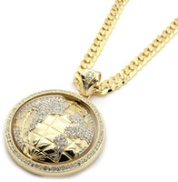 Wholesale Mens Gold Iced Out The World Earth Pendant Hip Hop quot Inch Cuban Necklace Chain