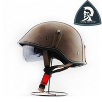 Wholesale 2016 Women and Mens Adults Brown PU Leather Harley Half Motorcycle Helmet With Inner Visor Vintage motorcycle Half Face Scooter Helmet DOT