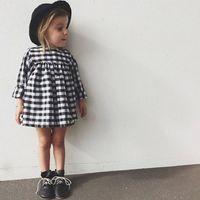 Wholesale 2016 Summer INS Style Baby Girl Dress Long Sleeves Plaid Princess Dress Kids Clothes Children clothing TuTu Piece Dress NQ001