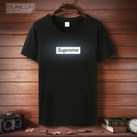 Wholesale Superme letters reflective t shirts short sleeves men women cotton Neck teen couple short sleeved Plus size M XXXL