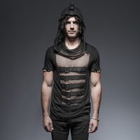 Wholesale Steampunk Mens T Shirts Gothic Slim Cotton T Shirts Hollow Out Breathable Summer Short Sleeve Hooded Mesh T Shirts T
