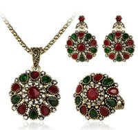 bead necklace stores - 3 Piece Suit Turkish Jewelry Colorfull store Earrings And Necklace For Women Nigerian Wedding African Beads Jewelry Set Crystal
