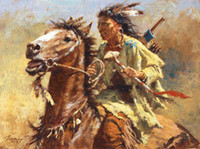 american oil painting - Howard Terpning WAR CHIEF SmallWorks Genuine Handpainted Native American Portrait Art Oil Painting On Canvas in customized size accepted