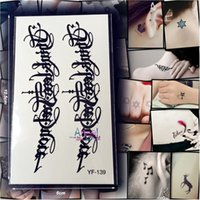 artistic tattoos designs - Piece Artistic Letter Temporary Tattoo Stickers AYF Black Words Cool Men Design Flash Tattoo Stickers Armband Totem