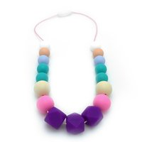 baby chewing food - New BPA Free Food Grade DIY Silicone Teething Necklace Colorful Silicone Hexagon Bead Teething Necklace for Baby Teether Chewing Jewelry