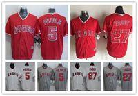 Красная форель Цены-New Cool Base Los Angeles Angels Джерси # 27 Майк Форель # 5 Альберт Pujols Красный / Серый / белый нашит Мужские трикотажные изделия бейсбола