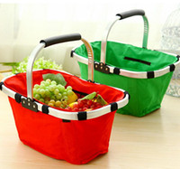 basket with handles - Foldable Shopping Cart Oxford Market Large Shopping Bag Outdoors Picnic Basket With Alloy Handle Colors PPA590