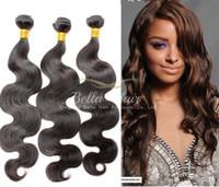 Dyeable Cabello humano bleachable 8A haces de pelo del pelo armadura peruana extensiones de cabello natural color Negro trama doble Bella Cabello envío gratuito
