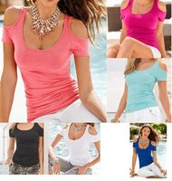 Wholesale WISHCART New Pattern Sexy Strapless Solid Color Short Sleeve ladies Garment t shirts