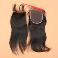 Wholesale Top a x4 Front Lace Closure Bleached Knots Cheap Three Middle Free Part Straight Closures Peruvian Virgin Human Hair Closure