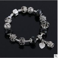 Wholesale Hot Wonderful Tibetan silver Pan box bead series DIY greased full diamond bracelet big hole diamond bracelet European charm brac