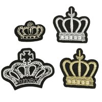 Wholesale Fabric Stickers Badge Applique Crown Patches Sew On Iron On Embroidered For Bags Caps Baby Kids Clothes DIY Handmade Decoration