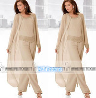 brown mother of the bride dresses - 2016 Champagne Three Piece Mother of the Bride Pant Suits with Long Jackets Long Sleeves Beaded Chiffon Mother Plus Size Wedding Guest Dress