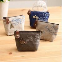 Wholesale 2016 new Vintage canvas bag Coin keychain keys wallet Purse change pocket holder organize cosmetic makeup Sorter Y604