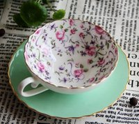 Wholesale English afternoon tea bone China coffee cup and saucer green