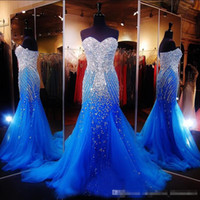 Wholesale Real Photos Gorgeous Royal Blue Tulle Pageant Evening Dresses Sweetheart Luxury Beaded Crystals Plus Size Prom Special Occasion Gowns