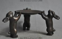 antique bronze candlesticks - chinese bronze animal zodiac Lovely Rabbit Plate Lampstand Candlesticks