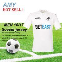 Wholesale 2016 Swansea City home white jerseys top thai quality shirts KI SY SIGURDSSON