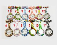 Wholesale 5000pcs Colorful Prints nurse watches Silicone Pocket watch Doctor Fob Quarta Watches Medical Cute Patterns Nurse Watch Pin Watches