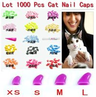 Wholesale Colors New Lots1000pcs Soft Cat Pet Nail Caps Claws Paws Off Control Adhesive Glue ZX003B Size XS S M L