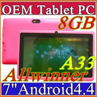 comprimés bon marché wifi 7 pouces 512MB RAM 8GB A33 Quad Core Allwinner Android 4.4 capacitif Tablet PC double facebook caméra Q88 Flashlig K-7PB