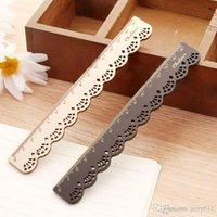 Wholesale Korea Zakka Kawaii Cute Stationery LACE BROWN Wood Ruler Sewing Ruler Drop Shipping OSS