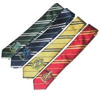 Wholesale Hogwarts School Harry potter tie gryffindor Slytherin Ravenclaw Hufflepuff badge ties necktie Neckwear for men women VIA DHL