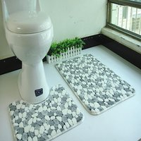Wholesale 2pcs set PVC mesh coral fleece floor mats bathroom ground mat set cm cm water absorption anti slip anti bacteria rugs