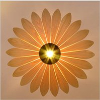 asian style rooms - Southeast Asian simple leather led pendant lamp creative style wooden lighting yellow sunflower shape E27 bulb light fixture