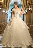 Wholesale Lace Empire Wedding Dresses With Dimond Decoration Backless Bandage Capped Spaghetti Floor length Sweep Train Ball Gown