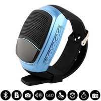 Wholesale New B90 Smart Watch Sports Bluetooth Speaker Hands free Call TF Card Playing FM Radio Self timer Wireless Speakers Time Display