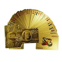 Wholesale Aicen Waterproof Luxury K Gold Foil Plated Playing Cards Dollar Playing Cards Bridge Size Regular Index
