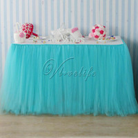 Wholesale 5pcs cm x cm Light Blue Turquoise Tulle Tutu Table Skirt Tulle Tableware Wedding Birthday Baby Shower Chrismas Party Table Decoration