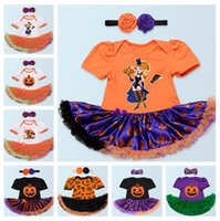 baby girl pumpkin - 8Styles Baby Rompers Infant Pumpkins Skull Halloween Rompers One Piece Suit Bowknot Headbands Newly Toddlers Onesies Tutu Dress Rompers