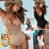 Polyester backless bodysuit - Backless Tassel Monokini Women Hot One Piece Swimsuit Tight Beach Bikini Swimwear Sexy Bodysuit Halter