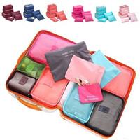 Wholesale 6pcs set Travel Organizer Bag Clothes Pouch Portable Storage Case Luggage Suitcase Secret Pouch Colors