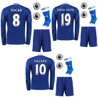 Wholesale 16 the full set long sleeve soccer jersey with socks and league patches HAZARD OSCAR DIEGO COSTA football jersey with socks