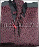 ascot tuxedos - Mens Suit Tuxedo Dress burgundy fashion Vest vest ascot tie cufflinks handkerchief
