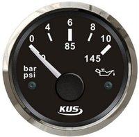Wholesale KUS Brand New Oil Pressure Gauges Fuel Pressure Meters bar V For Boat Automobile Tuning Black Color