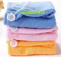 Wholesale 2016 hot Microfiber Magic Hair Dry Drying Turban Wrap Towel Hat Cap Quick Dry Dryer Bath make up towel