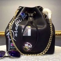 Wholesale New Black product bucket package printing bag cow leather bag style is absolutely the most love